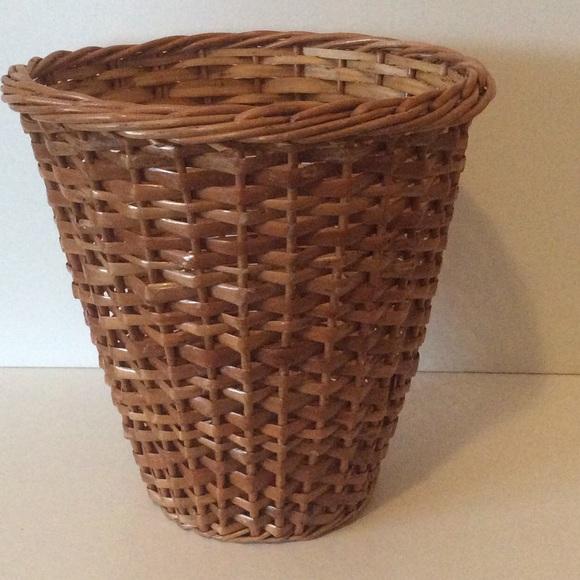 "Boho  Vintage Wicker Plant /Waste Basket 12"" x 12"""